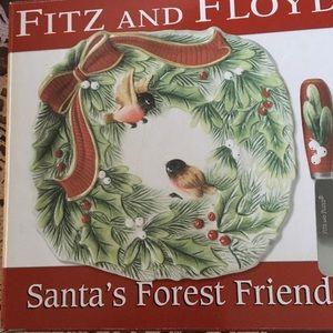 Fitz & Floyd Santa's Forest Friends Plate & Knife